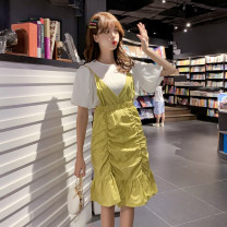 Dress Summer of 2019 Green, yellow S,M,L Middle-skirt Two piece set Short sleeve commute Crew neck High waist Solid color Socket Ruffle Skirt pagoda sleeve Type A Other / other Korean version
