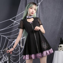 Dress Summer of 2019 S,M,L Mid length dress singleton  Short sleeve commute other Cartoon animation zipper other routine Others 18-24 years old Type A Elements Sigil / element seal Retro 91% (inclusive) - 95% (inclusive) other Chloroprene