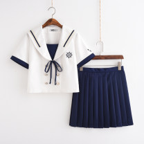 student uniforms Summer of 2019, spring of 2019 Short sleeve top + pleated skirt, long sleeve top + pleated skirt S,M,L,XL,XXL Short sleeve solar system skirt 18-25 years old Xiaojin polyester Sailing girl 71% (inclusive) - 80% (inclusive)