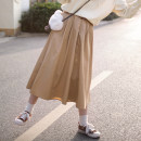 skirt Spring 2021 Single code khaki Middle-skirt Sweet High waist Pleated skirt Solid color Type A 51% (inclusive) - 70% (inclusive) cotton solar system