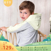 Plain coat DAVE&BELLA male 73cm,80cm,90cm,100cm,110cm,120cm,130cm grey spring and autumn Europe and America Zipper shirt There are models in the real shooting routine No detachable cap cotton DBX16553 Cotton 100% Class A