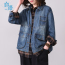 short coat Autumn of 2019 M L XL Denim blue Long sleeves routine routine singleton  easy routine Polo collar Single breasted Solid color Soliloquy 96% and above cotton Cotton 100%