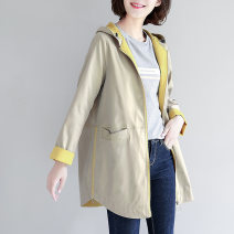 Windbreaker Spring 2020 M L XL 2XL 3XL Khaki Navy Long sleeves routine Medium length commute zipper Hood other Solid color Straight cylinder Simplicity Soliloquy WT2010020~ 51% (inclusive) - 70% (inclusive) polyester fiber Polyester 61% cotton 39%