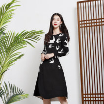 Dress Autumn of 2018 White swallow with black background, grey swallow with black background, blue swallow with black background S,M,L Middle-skirt singleton  Long sleeves Sweet Crew neck High waist Animal design Socket A-line skirt routine 30-34 years old Type A 71% (inclusive) - 80% (inclusive)