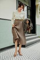 skirt Winter 2020 S,M,L,XL Chage pattern Mid length dress commute Natural waist Pleated skirt lattice Type A QZ1084 51% (inclusive) - 70% (inclusive) polyester fiber Simplicity