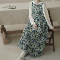 Dress Autumn 2020 longuette singleton  Sleeveless Crew neck High waist Decor Socket Big swing 18-24 years old Type X However, he Feng Lace up, print, pleat 81% (inclusive) - 90% (inclusive) cotton
