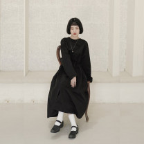 Dress Autumn 2020 black S (155cm), m (166cm) longuette singleton  Long sleeves Sweet Crew neck Loose waist Solid color Socket Big swing routine 18-24 years old Type H However, he Feng Pocket, lace up More than 95% cotton solar system
