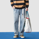 Jeans Youth fashion Others M,L,XL,2XL wathet routine No bullet Regular denim trousers Other leisure Cotton 100% Four seasons youth middle-waisted Loose straight tube Japanese Retro 2018 Straight foot zipper Multiple pockets washing cotton