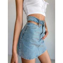 skirt Summer 2020 XS,S,M,L Light blue, black Miniskirt street High waist Denim skirt Type A 18-24 years old 91% (inclusive) - 95% (inclusive) Denim cotton Hollowing out Europe and America