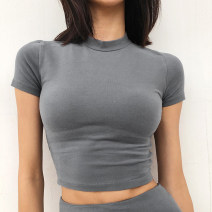 T-shirt Khaki, blue, black, bean green, mocha, iron gray XS,S,M Summer 2021 Short sleeve Half high collar Self cultivation Super short routine street cotton 86% (inclusive) -95% (inclusive) 18-24 years old Solid color Europe and America
