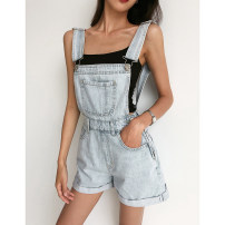 Jeans Summer 2021 Light blue, dark blue, black gray 26,27,28,29 shorts High waist rompers routine 18-24 years old Cotton denim light colour