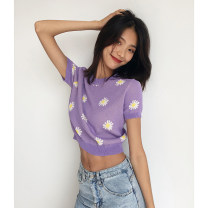 T-shirt violet S, M Summer 2021 Short sleeve Crew neck Straight cylinder Super short routine street Viscose 96% and above 18-24 years old classic Plants and flowers Embroidery Europe and America
