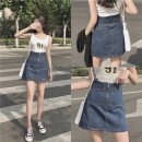 Women's large Summer 2020 blue Large XL, large XXL, large XXL, large XXXXL, large L, large M skirt singleton  commute easy thin Solid color Korean version Denim Three dimensional cutting w55# 18-24 years old pocket 71% (inclusive) - 80% (inclusive) Short skirt Contains (9 oz) - 11 oz