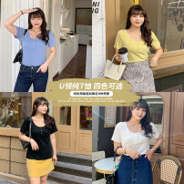 Women's large Summer 2021 Large XL, large XXL, large XXL, large XXXXL, large XXXXL commute easy Short sleeve Solid color Crew neck 18-24 years old thread