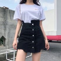 Women's large Summer 2020 black M [recommended 80-100 Jin], l [100-120 Jin], XL [120-140 Jin], 2XL [140-160 Jin], 3XL [160-180 Jin], 4XL [180-200 Jin recommended] skirt singleton  commute easy moderate Solid color Korean version Denim Three dimensional cutting w72#1 18-24 years old pocket Short skirt