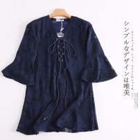 Dress Spring 2021 Navy Blue Average size singleton  elbow sleeve commute High waist literature 30% and below other