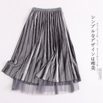skirt Summer 2021 Average size grey Mid length dress fresh High waist Pleated skirt Solid color Type A 30% and below other