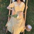 Dress Summer 2020 Literary yellow, fresh blue XS,S,M Mid length dress singleton  Short sleeve commute Doll Collar High waist Solid color Single breasted A-line skirt bishop sleeve Others Type A The plums are ripe literature
