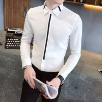 shirt Fashion City Northern desert Owl M L XL 2XL 3XL 4XL 5XL White black routine Pointed collar (regular) Long sleeves Super slim Other leisure autumn 53487929-17520 teenagers Other 100% Exquisite Korean style 2020 character Color woven fabric Winter 2020 No iron treatment Embroidery