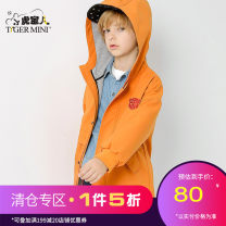 Plain coat Little tiger baby male 110cm,120cm,130cm,140cm,150cm,160cm Jw0009 orange, jw0009 khaki, jw19 dark green, jw19 water blue spring and autumn college Zipper shirt There are models in the real shooting routine No detachable cap Solid color Cotton blended fabric Crew neck XH18AJW0009 Class B
