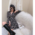 Dress Spring 2021 black M, L Middle-skirt singleton  Long sleeves commute V-neck A-line skirt Wrap sleeves Others 18-24 years old Type A Korean version 30% and below cotton