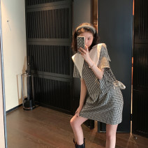 Dress Spring 2021 XS,S,M,L,XL,2XL Short skirt singleton  Short sleeve commute other High waist lattice Socket other routine Others 18-24 years old Type H Other / other Korean version Zipper, pocket 30% and below