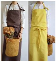 apron Coffee cotton and hemp super long apron, yellow canvas super long apron, light gray cotton and hemp super long apron, purple cotton and hemp super long apron, black cotton and hemp super long apron