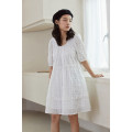 Dress Summer 2020 White (spot) S, M Mid length dress singleton  elbow sleeve Sweet Crew neck Loose waist other Socket other other Others 25-29 years old Type H Other / other 30% and below other other college