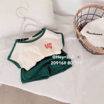 suit Meiyaya Yellow suit, green suit, yellow pre-sale, green pre-sale 80cm,90cm,100cm,110cm,120cm,130cm neutral summer Korean version Short sleeve + pants 2 pieces Thin money No model Socket nothing cotton elder Expression of love LI65 Chinese Mainland