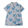 shirt Blue fox Chou Chou chic / Yatong shop male 100cm 110cm 120cm 130cm 140cm 150cm 160cm summer Short sleeve Chinese style Cartoon animation Pure cotton (100% cotton content) Cotton 100% SB-626 Blue fox Summer of 2019