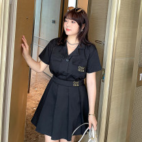 Women's large Summer 2021 Cool black two piece set Large XL, large XXL, large XXL, large XXXXL, large XXXXL Other oversize styles Two piece set Sweet Self cultivation thin Short sleeve Solid color Polo collar other A285-W 25-29 years old Embroidery Short skirt Pleated skirt