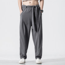 Casual pants Others Youth fashion M,L,XL,2XL,3XL,4XL,5XL routine trousers Other leisure easy No bullet spring youth Chinese style middle-waisted Haren pants Three dimensional tailoring washing Solid color hemp Cotton and hemp