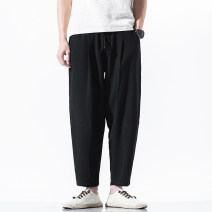 Casual pants Others Youth fashion Grey, black, linen M,L,XL,2XL,3XL,4XL,5XL thin Ninth pants Other leisure easy No bullet summer youth Chinese style middle-waisted Haren pants Three dimensional tailoring washing Solid color hemp Cotton and hemp