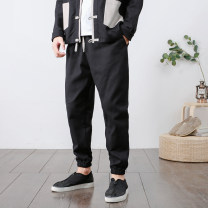 Casual pants Others Youth fashion Basic color (black, gray, white, etc.) M,L,XL,2XL,3XL,4XL,5XL routine trousers Other leisure easy No bullet autumn youth Chinese style 2018 middle-waisted Little feet Haren pants washing Solid color cotton cotton