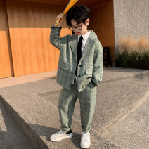 suit Bus cat Grey green 120cm 130cm 140cm 150cm 160cm 170cm male spring and autumn leisure time Long sleeve + pants 2 pieces routine There are models in the real shooting Single breasted nothing lattice polyester children perform BBCP-21017 Class B Polyester 100% Spring 2021