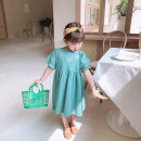 Dress Green, beige female Grapefruit rabbit 90cm,100cm,110cm,120cm,130cm Other 100% summer lady Short sleeve Broken flowers Cotton blended fabric A-line skirt Class B Seven years old, eight years old, three years old, 18 months old, two years old, five years old, four years old, six years old
