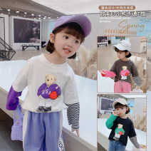 T-shirt White, gray, black Other / other 100cm,110cm,120cm,130cm,140cm female spring and autumn Korean version There are models in the real shooting Cotton blended fabric Broken flowers Class B 7 years old, 8 years old, 3 years old, 6 years old, 18 months old, 2 years old, 5 years old, 4 years old