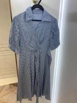 Dress Summer 2021 blue S Middle-skirt singleton  Short sleeve commute V-neck middle-waisted Dot Socket A-line skirt routine 25-29 years old Type A Button M0MS0008 polyester fiber