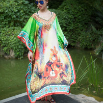 Dress Summer 2016 As shown in the figure Average size longuette singleton  Short sleeve commute V-neck Loose waist Decor Socket other Bat sleeve Others Type H Other / other ethnic style Printed with diamond 31% (inclusive) - 50% (inclusive) other polyester fiber