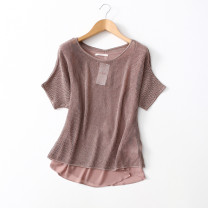 Wool knitwear Autumn 2020 Euro-s (bust 124), euro-l (bust 132), Euro XL (bust 136) Light brown Short sleeve singleton  Socket other More than 95% Regular routine commute easy Solid color Socket