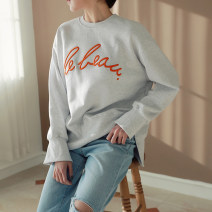 Sweater / sweater Autumn of 2019 Blue, gray, black Average size Long sleeves routine Socket singleton  routine Crew neck easy commute raglan sleeve letter 25-29 years old 96% and above Korean version cotton cotton
