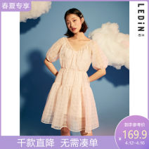 Dress Summer 2020 Pink (spot) pink (pre-sale) S M L Mid length dress Two piece set elbow sleeve 18-24 years old Leting CWFAA2334 More than 95% polyester fiber Polyester 100% Same model in shopping mall (sold online and offline)