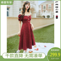 Dress Spring 2021 XS S M L Mid length dress Two piece set Short sleeve Sweet square neck middle-waisted zipper other puff sleeve 18-24 years old Type A Leting Frenulum CWFAB1748 More than 95% cotton Cotton 100% solar system