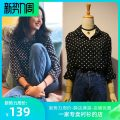 shirt [simple black and White Polka Dot Shirt] 0120 Small, large Spring 2021 other 30% and below Long sleeves commute Regular square neck Single row multi button routine Dot 18-24 years old Straight cylinder Ol style Button