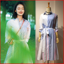 Dress Autumn 2020 Li Qin [stripe stitching design dress] Small, large Mid length dress singleton  elbow sleeve square neck stripe Single breasted Irregular skirt 18-24 years old Romantic Bowknot, lace up, stitching, asymmetry, button