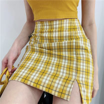 skirt Summer 2020 S,M,L yellow Short skirt street High waist A-line skirt lattice Type A 18-24 years old 31% (inclusive) - 50% (inclusive) other other Europe and America
