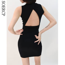 Dress Summer 2021 black S, M Short skirt singleton  Sleeveless commute Crew neck High waist Solid color Socket One pace skirt routine straps 25-29 years old Type H Retro backless 31% (inclusive) - 50% (inclusive) polyester fiber