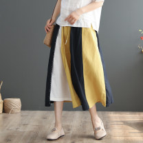 skirt Summer 2020 Average size Mid length dress commute Natural waist A-line skirt Type A 30-34 years old 51% (inclusive) - 70% (inclusive) other Lack of element hemp literature