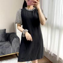 Dress Summer 2020 Black 9926 combed Chiffon Skirt S,M,L Mid length dress singleton  Short sleeve Crew neck Socket puff sleeve Other / other More than 95% Chiffon