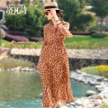 Dress Summer 2020 Leopard Print M L XL XXL Mid length dress Two piece set three quarter sleeve commute Elastic waist Leopard Print Socket A-line skirt Others 40-49 years old Type A Luo fan's Poems lady printing 81% (inclusive) - 90% (inclusive) polyester fiber Pure e-commerce (online only)